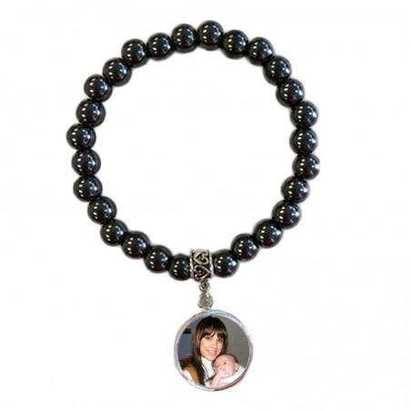 Bracelet perles Hématite noires avec pendentif personnalisé
