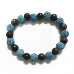 Bracelet perles de lave et hématite