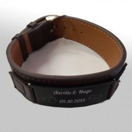 bracelet cuir marron à graver