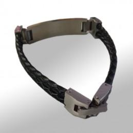 bracelet cuir noir tresse