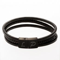 bracelet cuir lanières noir