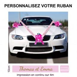 ruban personnalisé décoration voiture mariage