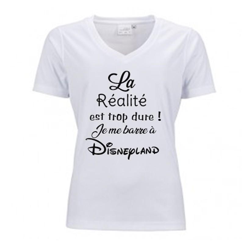 Tee Shirt Humoristique Femme - T-Shirt Blanc Col V à Personnaliser 3ad1531172e0