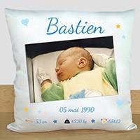 Coussin personnalisé - Cadeau de naissance